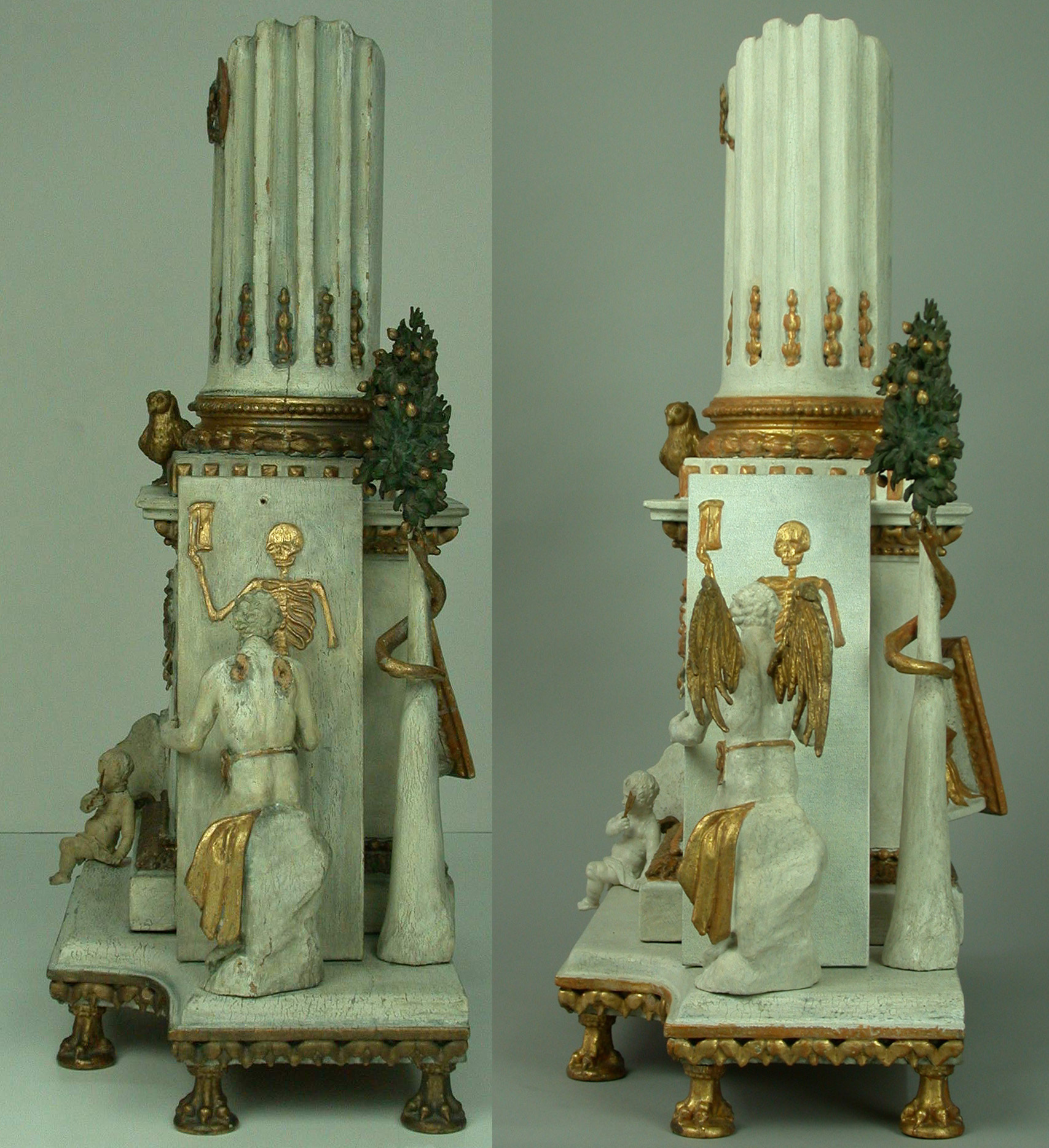 Conservation and restoration of a baroque sculpture and clock.